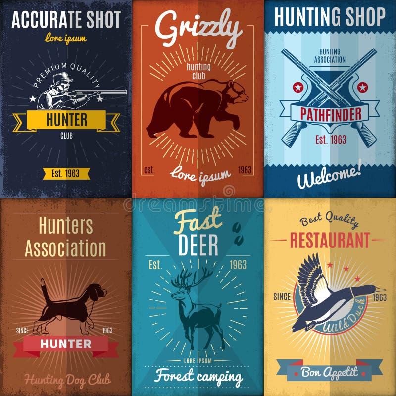 Colección de los carteles de la caza del vintage ilustración del vector