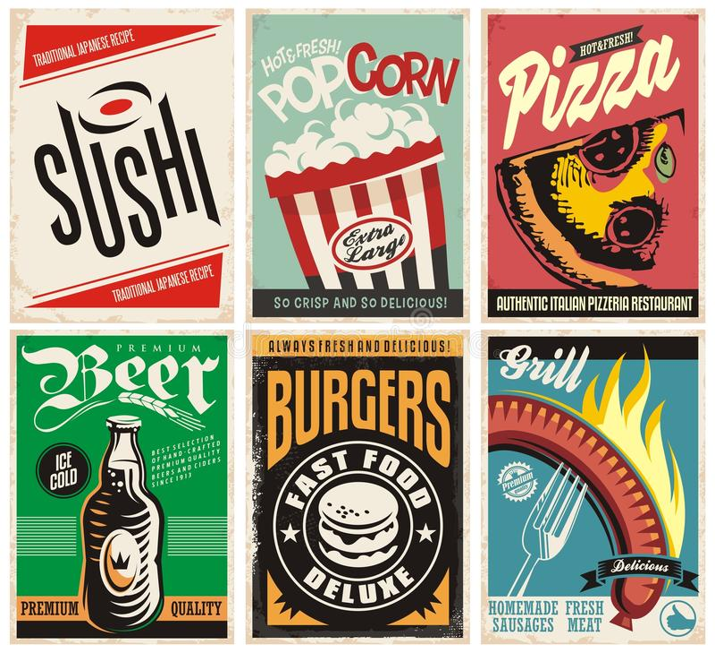 Colección de los carteles de la comida y de la bebida ilustración del vector