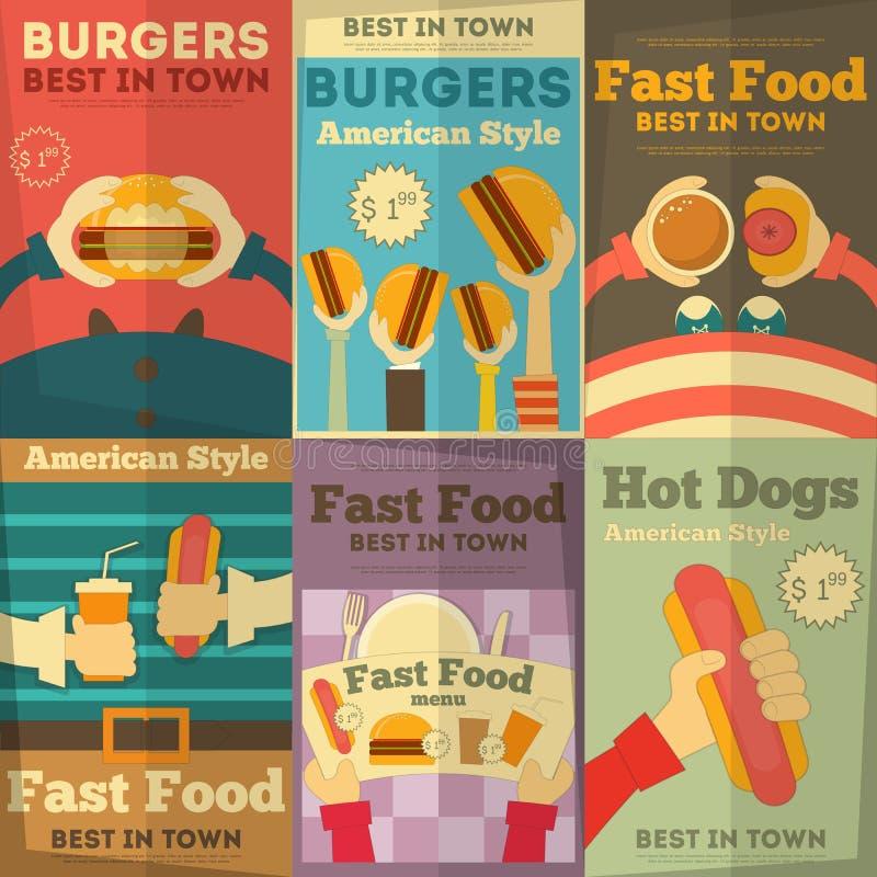 Colección de los carteles de los alimentos de preparación rápida stock de ilustración