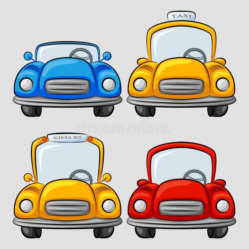 Colección de los coches de la historieta ilustración del vector