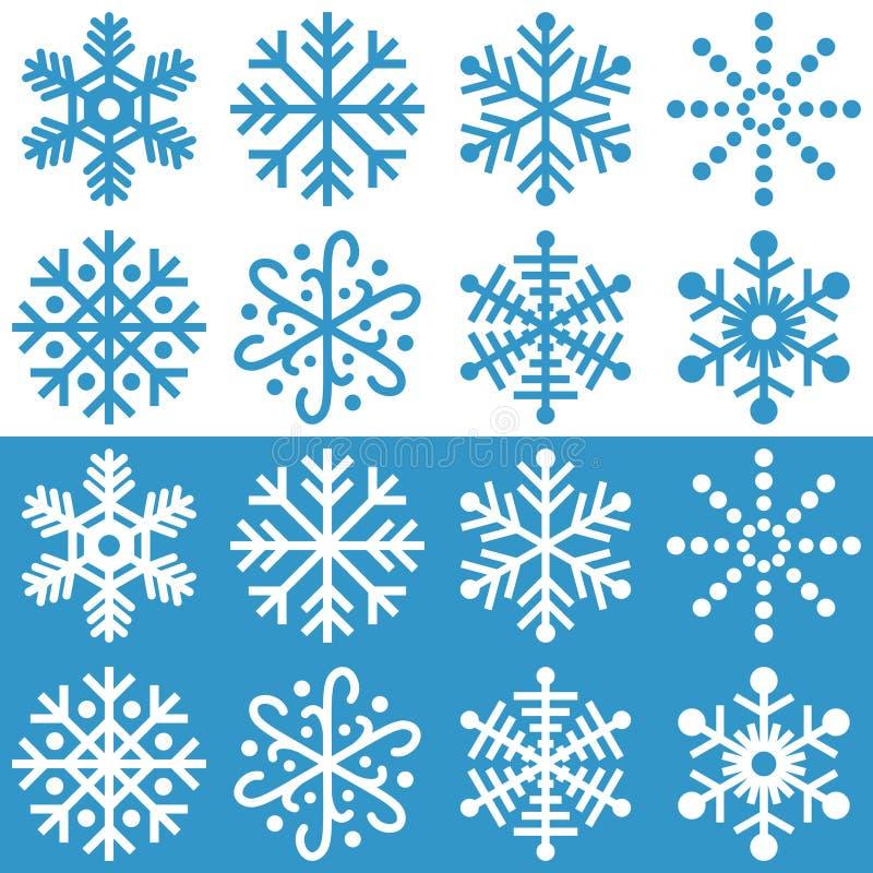 Colección de los copos de nieve stock de ilustración