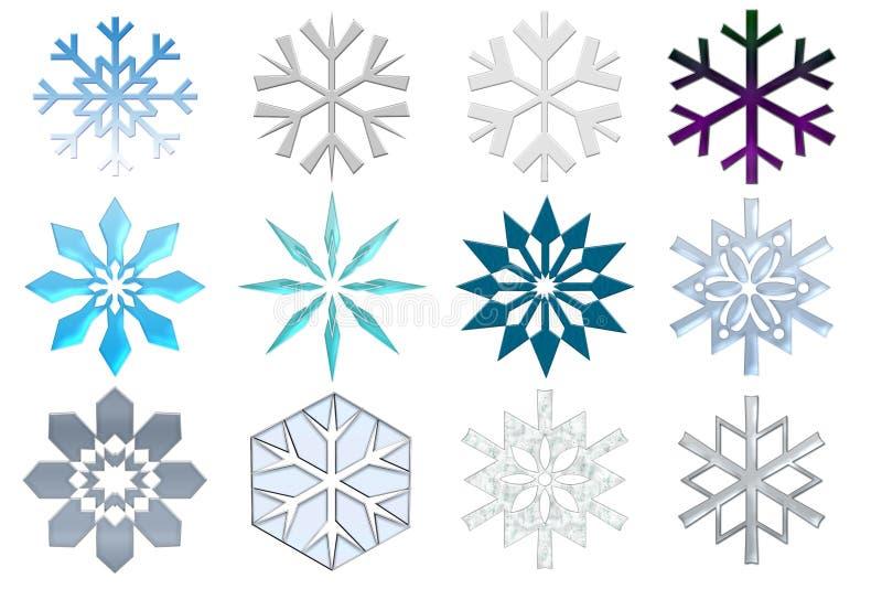 Colección de los copos de nieve ilustración del vector