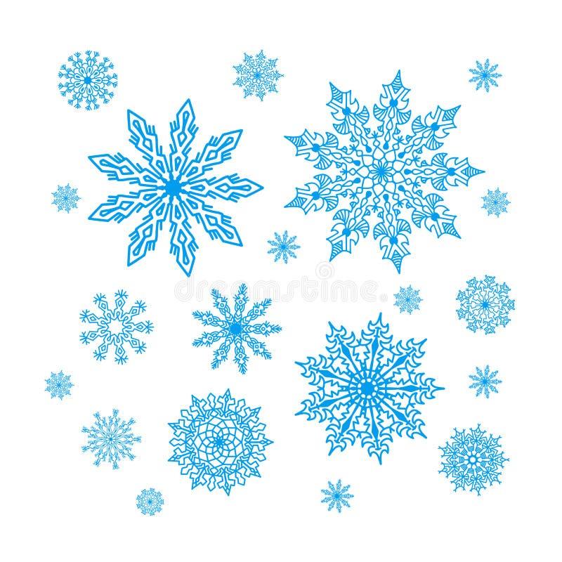 Colección de los copos de nieve de la Navidad, sistema del ornamento del círculo libre illustration