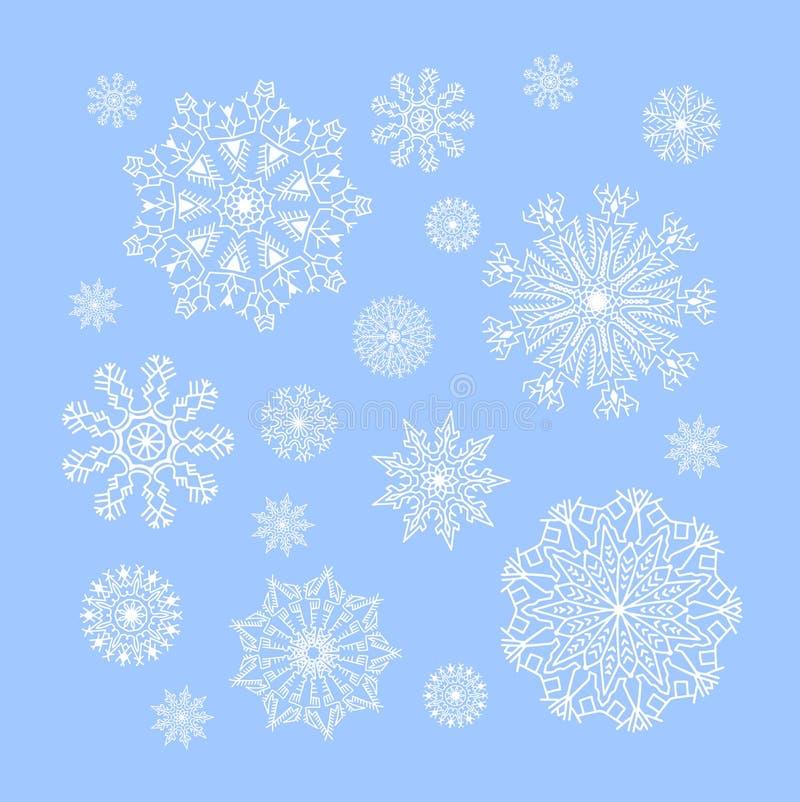 Colección de los copos de nieve de la Navidad, sistema del ornamento del círculo, ornamental stock de ilustración