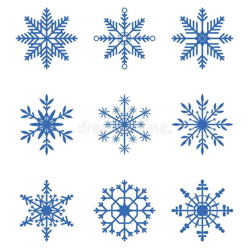 Colección de los copos de nieve Sistema de iconos de la nieve Elementos para la bandera de la Navidad, tarjetas de la decoración  ilustración del vector