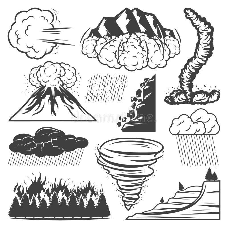 Colección de los desastres naturales del vintage stock de ilustración
