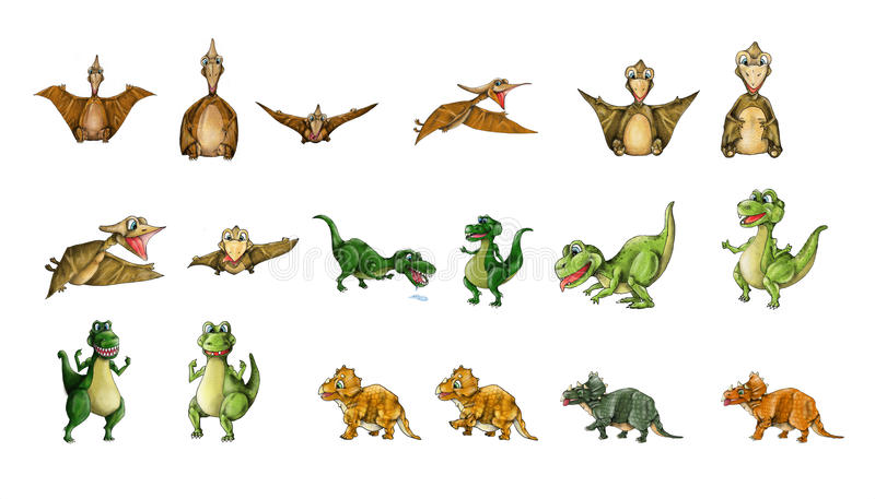 Colección de los dinosaurios - T-Rex, pterodáctilo, Triceratops fotografía de archivo
