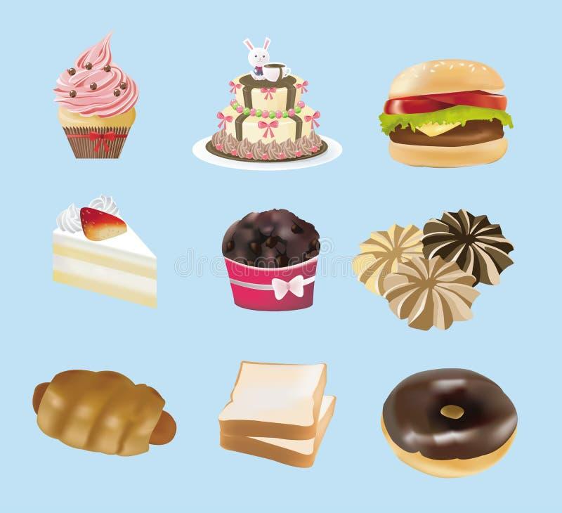 Colección de los dulces, de la panadería, y de los alimentos de preparación rápida libre illustration