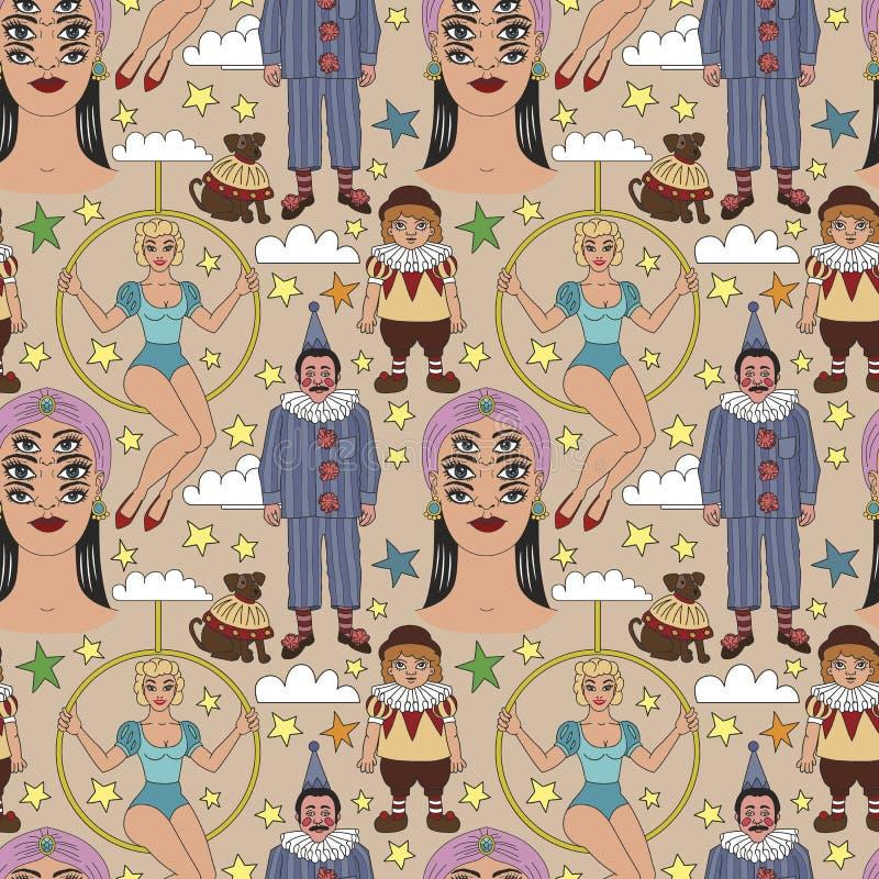 Colección de los ejemplos del circo del vintage stock de ilustración
