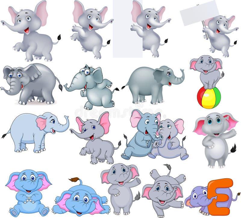 Colección de los elefantes de la historieta con diversas acciones stock de ilustración