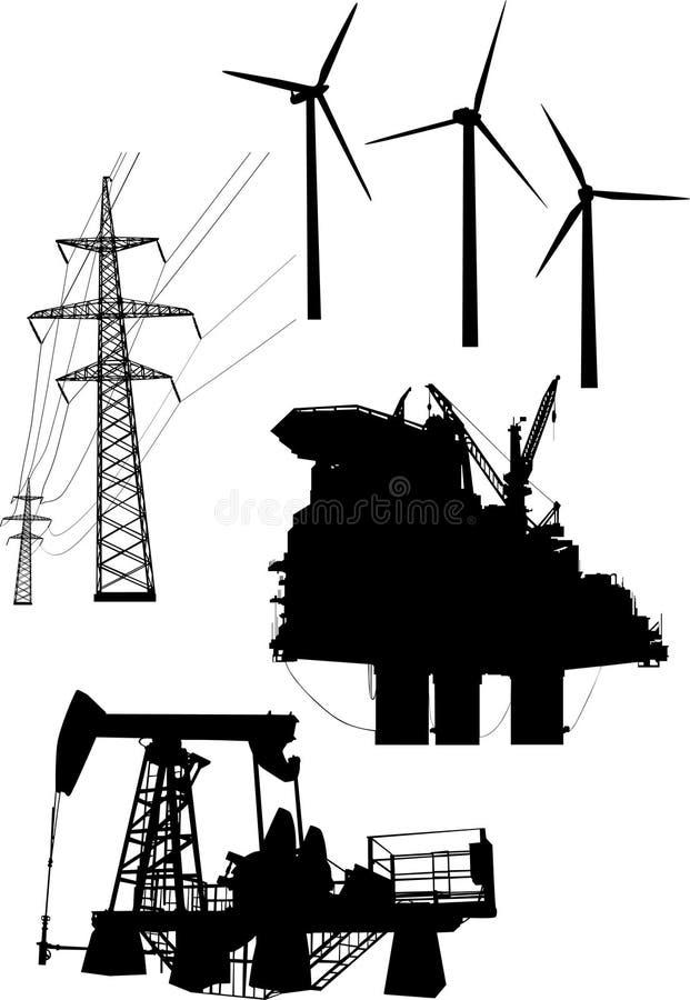 Colección De Los Elementos De La Generación De La Energía Fotos de archivo libres de regalías