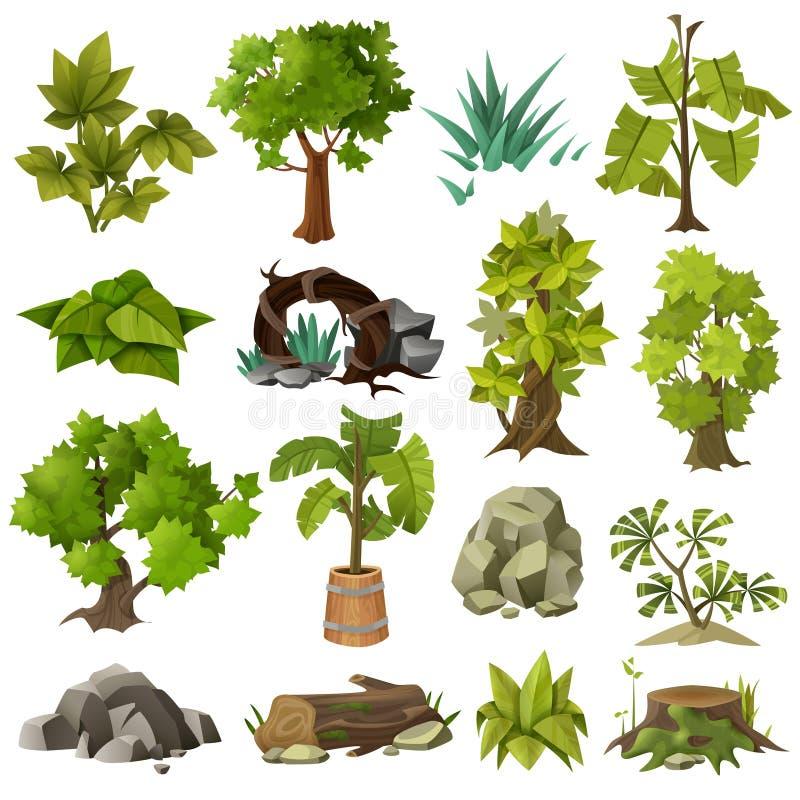 Colección de los elementos de la jardinería ornamental de las plantas de los árboles ilustración del vector