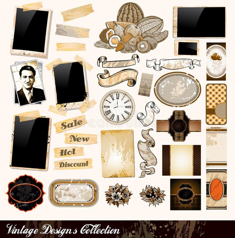 Colección de los elementos de la vendimia stock de ilustración