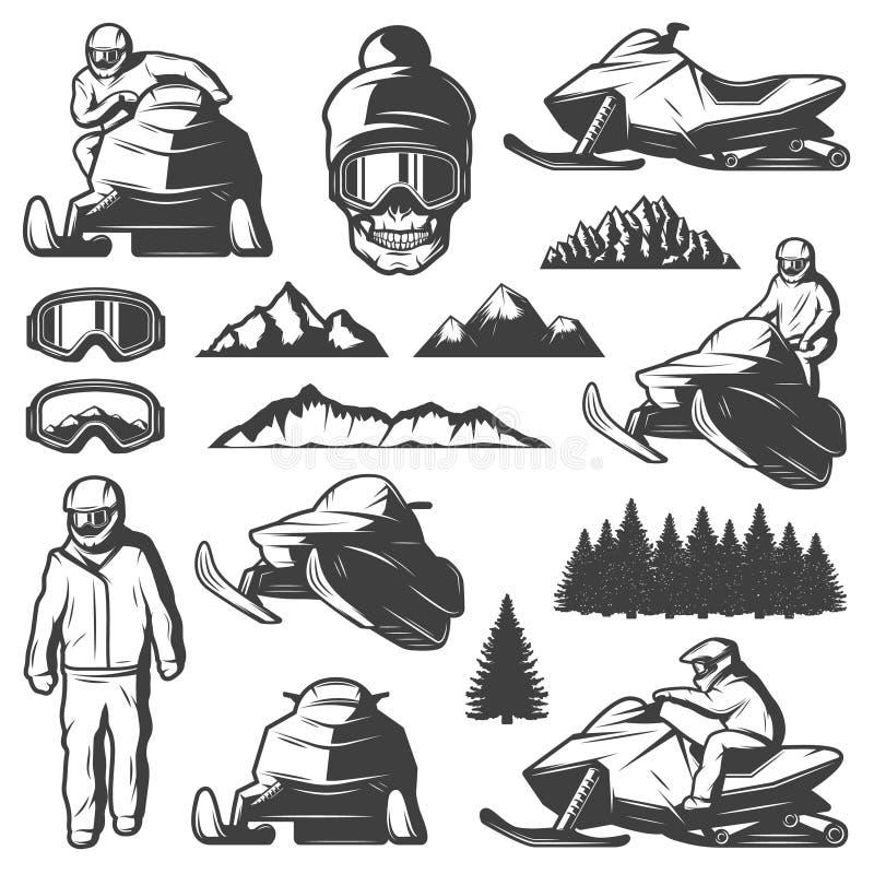 Colección de los elementos del deporte de invierno del vintage libre illustration