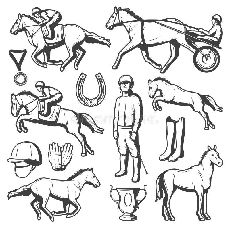 Colección de los elementos del deporte ecuestre del vintage stock de ilustración