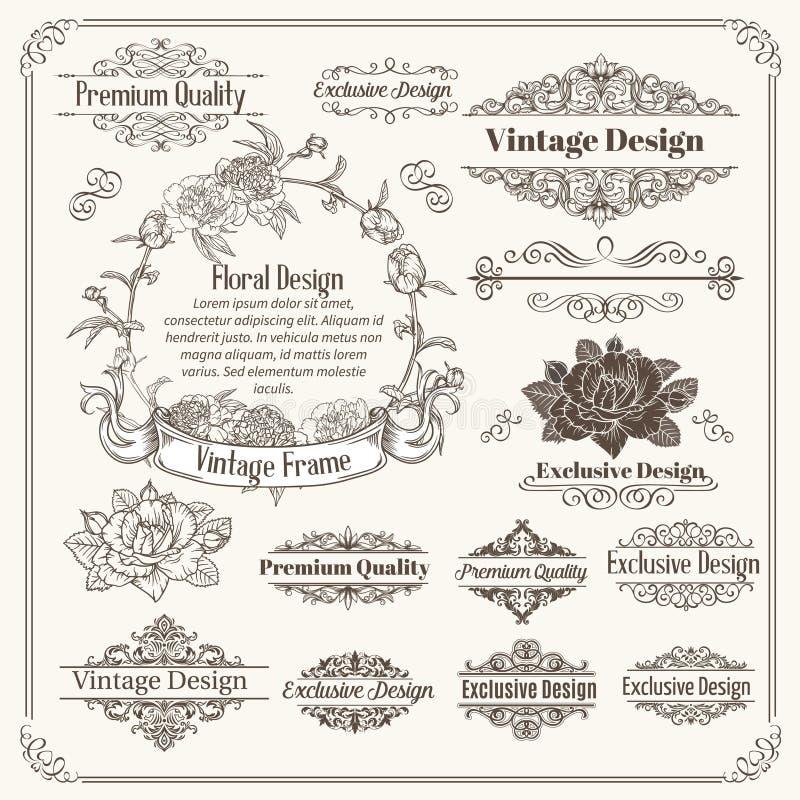 Colección de los elementos del diseño del vector del vintage stock de ilustración