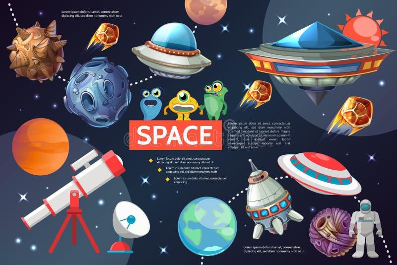Colección de los elementos del espacio de la historieta ilustración del vector