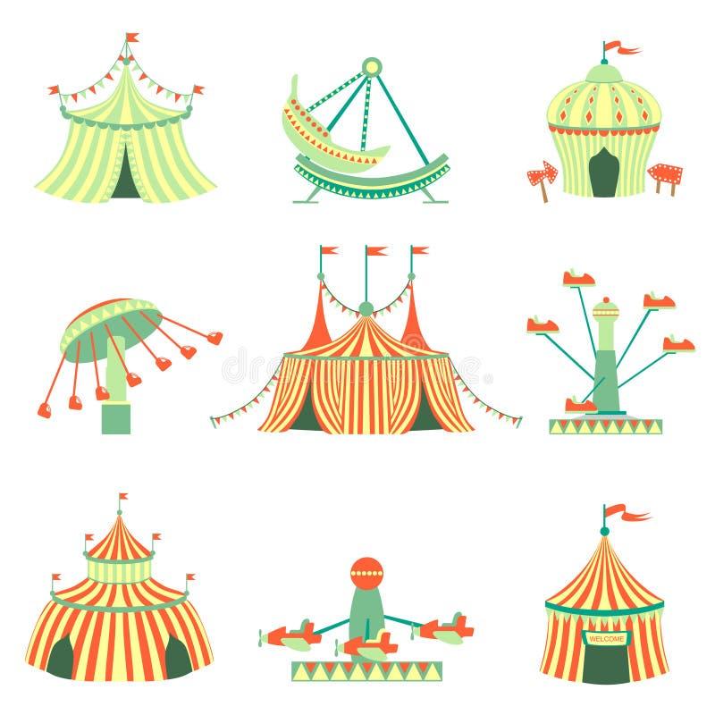 Colección de los elementos del parque de atracciones libre illustration