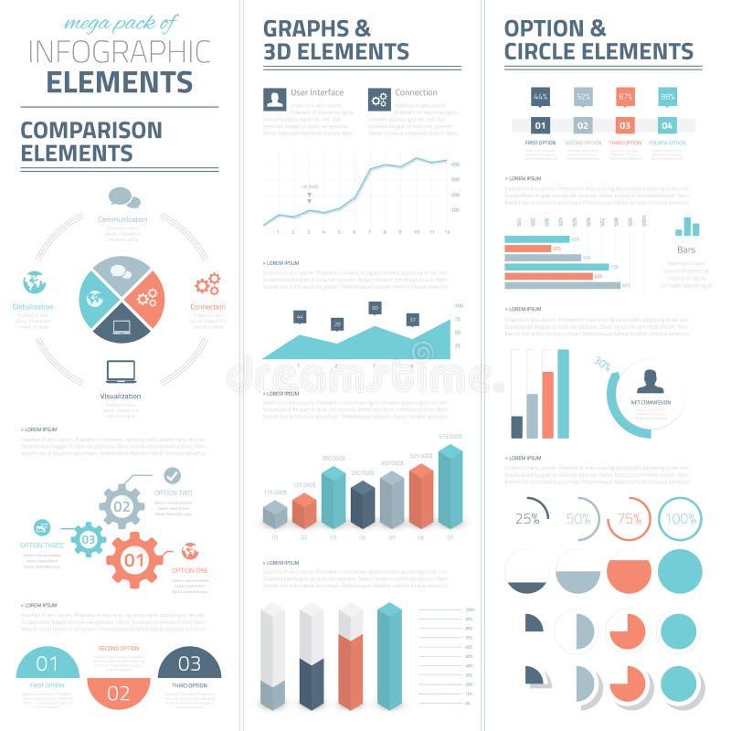 Colección de los elementos del vector del negocio de Infographic ilustración del vector