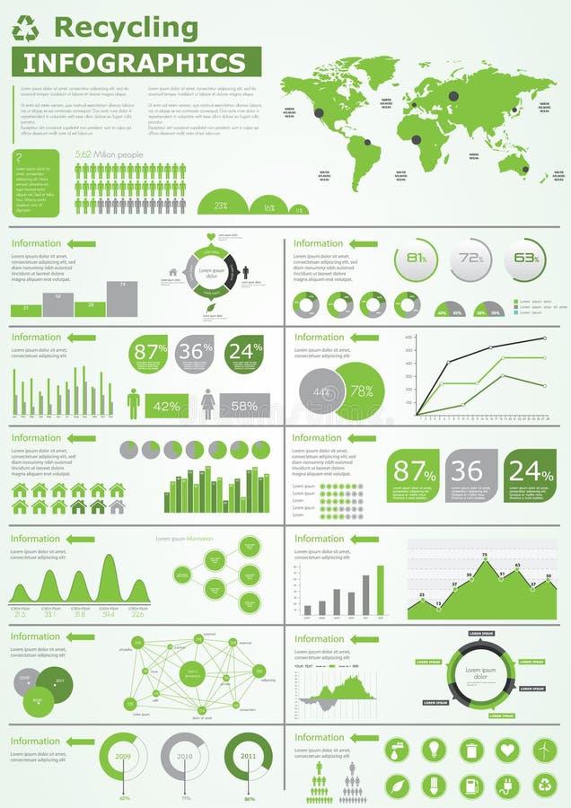 Colección de los gráficos de la ecología Info stock de ilustración