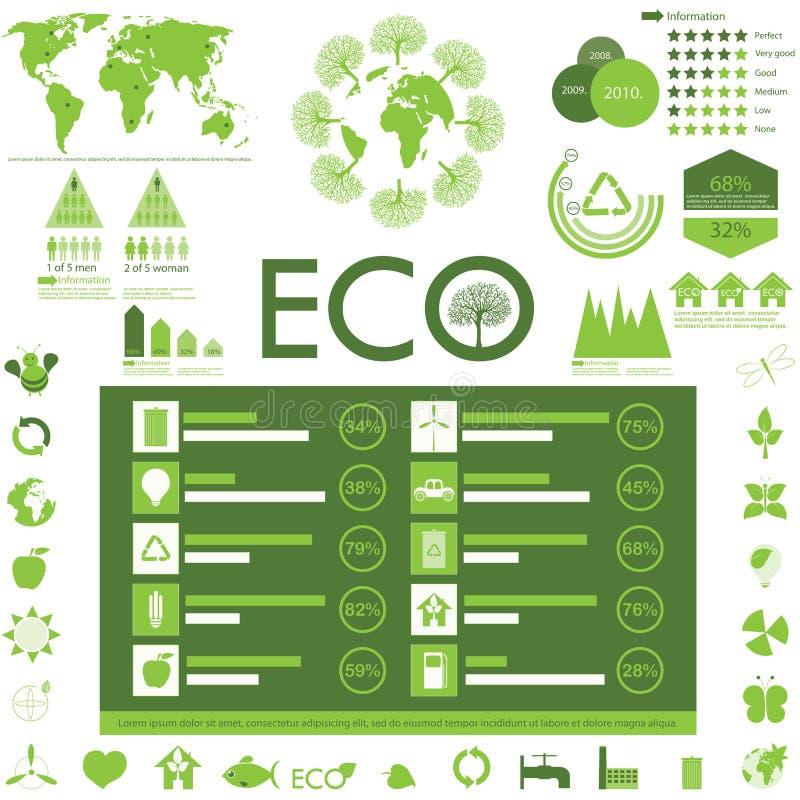 Colección de los gráficos de la ecología Info ilustración del vector