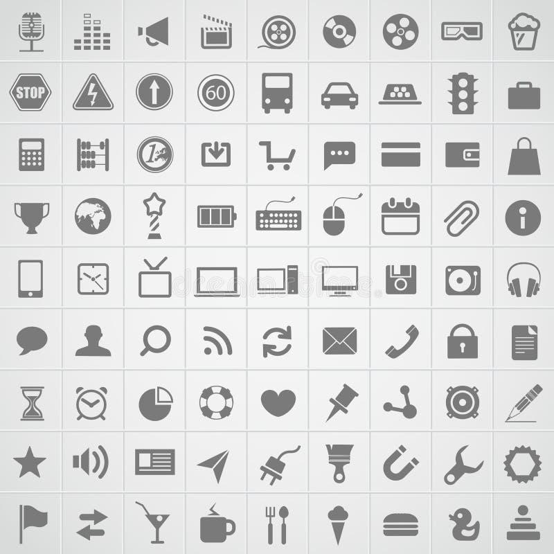 Colección de los iconos de la aplicación web ilustración del vector
