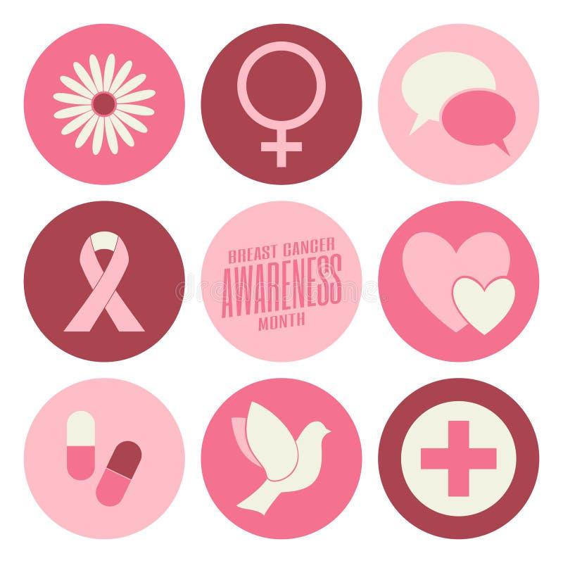 Colección de los iconos de la conciencia del cáncer de pecho ilustración del vector