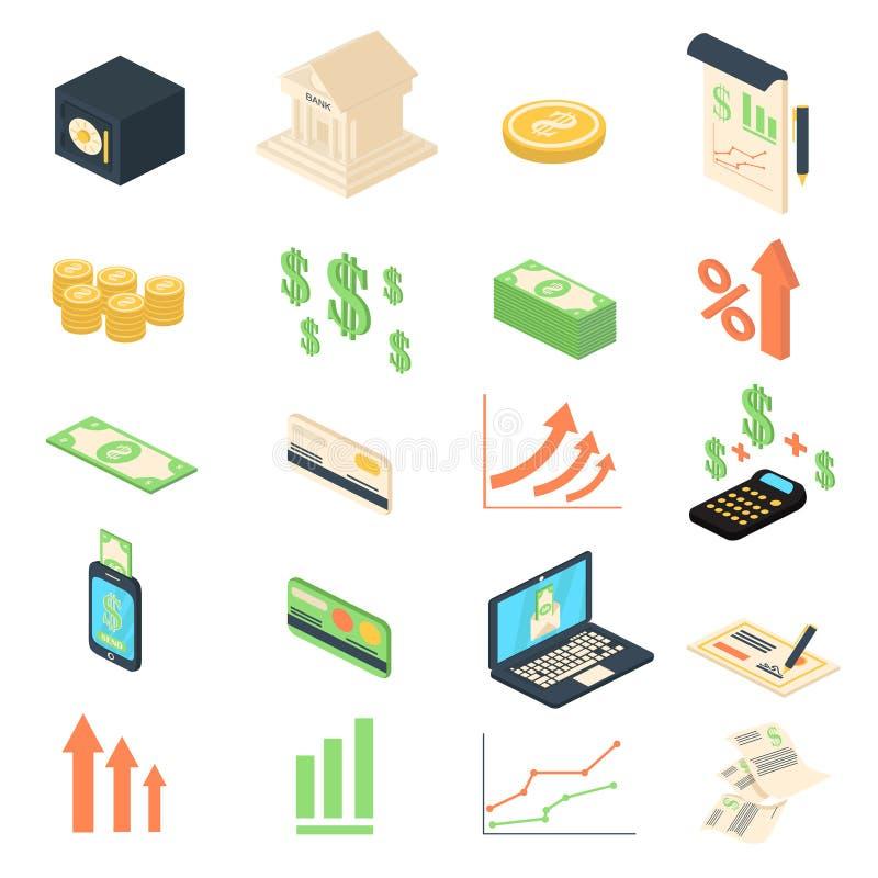 Colección de los iconos de la gestión de las actividades bancarias del análisis de las finanzas libre illustration