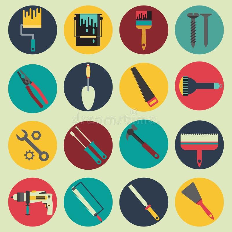 Colección de los iconos de la reparación de la casa stock de ilustración