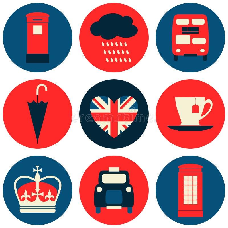 Colección de los iconos de Londres ilustración del vector