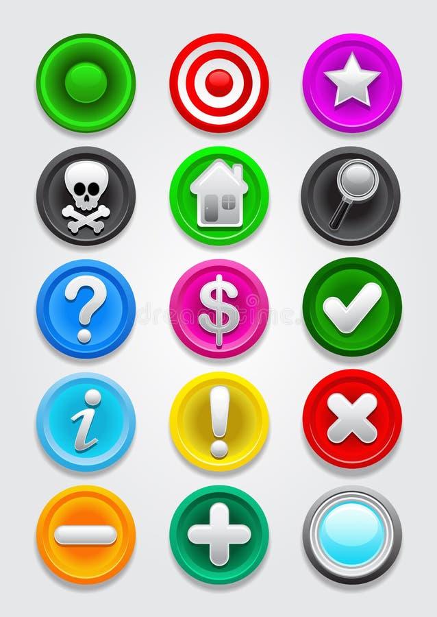 Colección de los iconos/de los botones del vector de la correspondencia de los Gps stock de ilustración