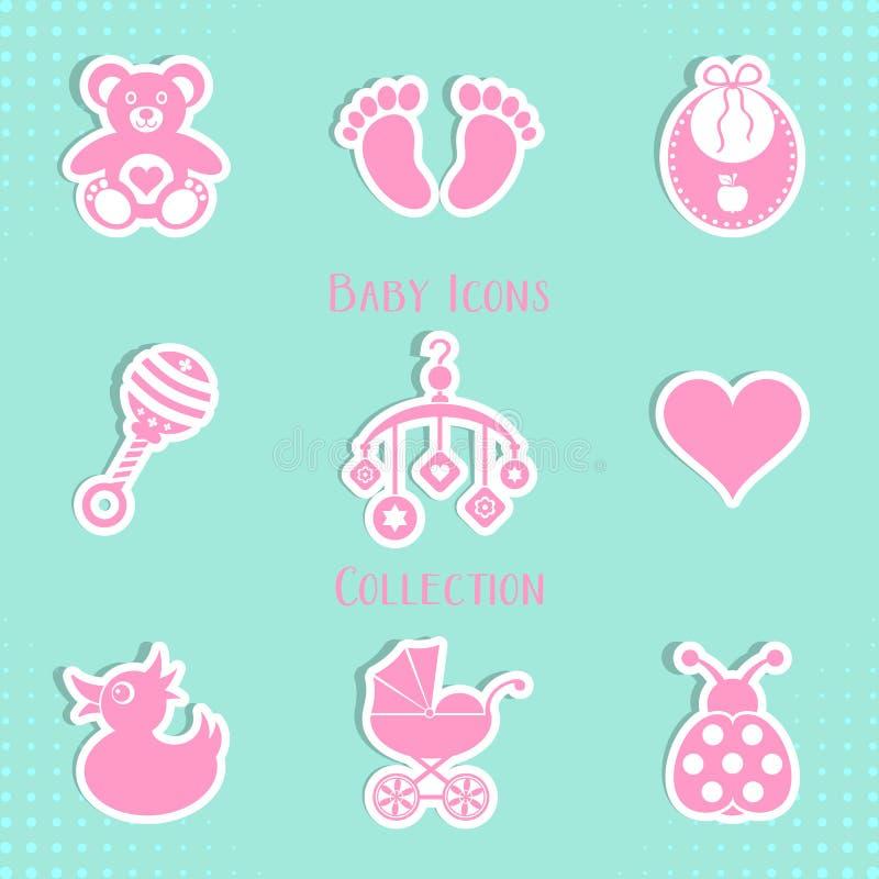 Colección de los iconos del bebé stock de ilustración