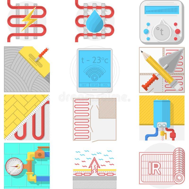 Colección de los iconos del color para la calefacción por el suelo libre illustration