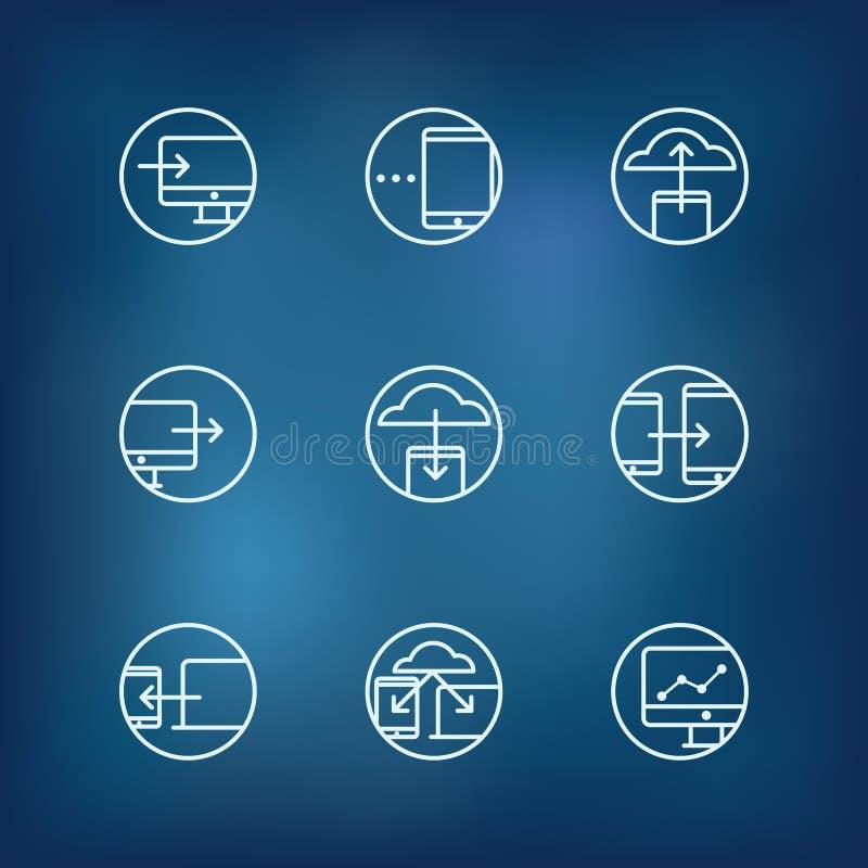 Colección de los iconos del concepto del fransfer de la información stock de ilustración