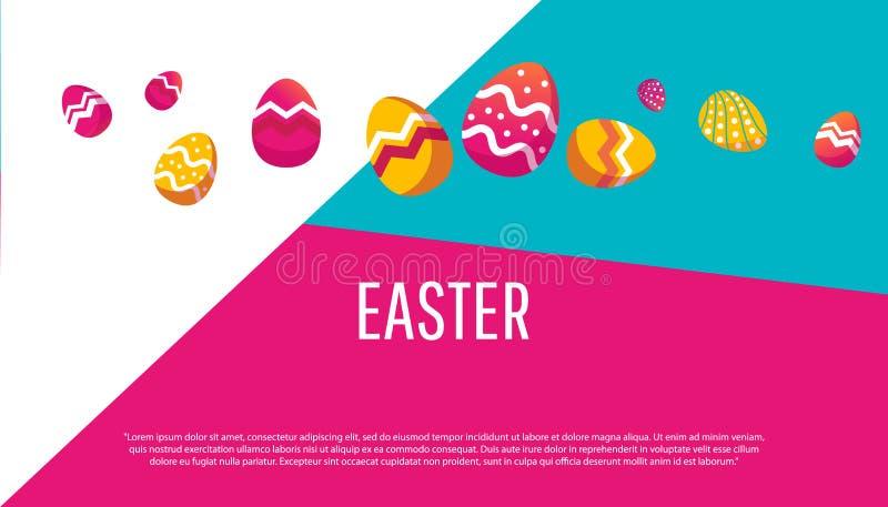 Colección de los iconos del huevo de Pascua en estilo plano stock de ilustración