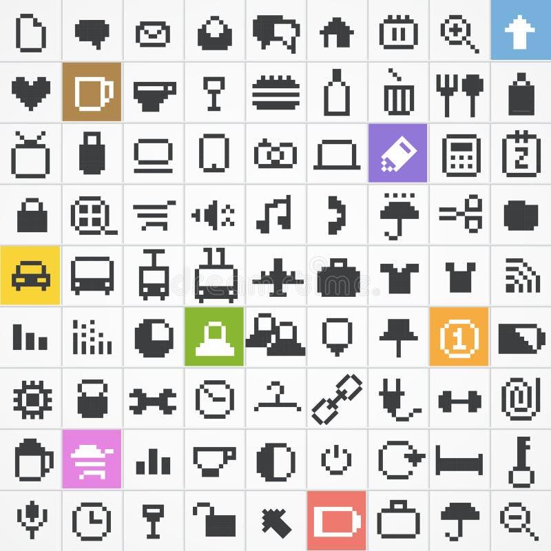 Colección de los iconos del Web del pixel libre illustration