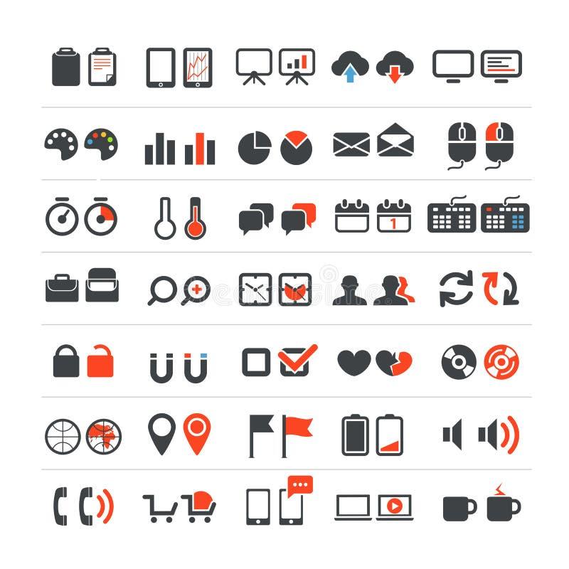Iconos del Web y del negocio stock de ilustración