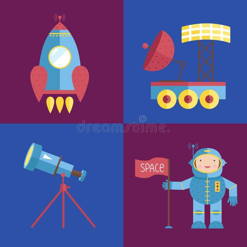 Colección de los iconos de la historieta del espacio stock de ilustración