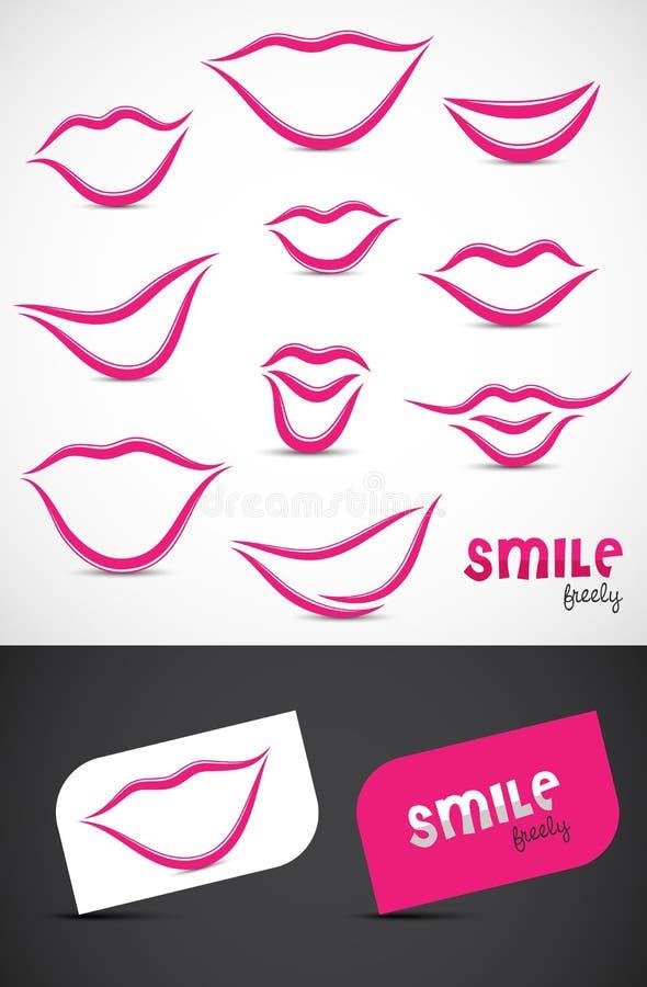 Colección de los labios y de las sonrisas ilustración del vector