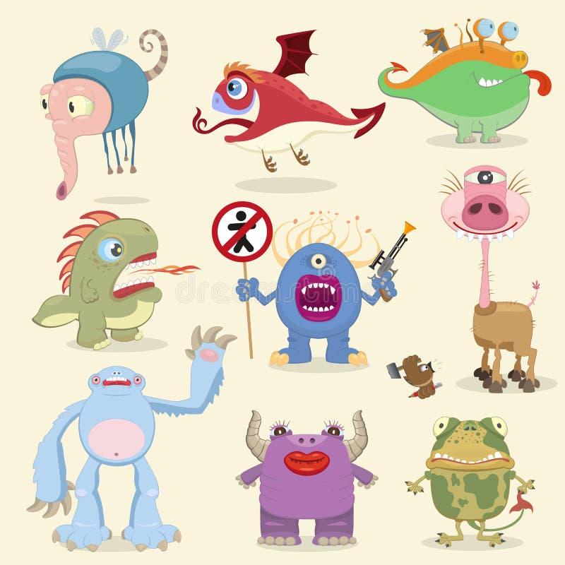 Colección de los monstruos de la historieta stock de ilustración