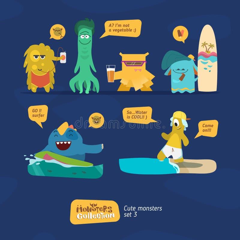 Colección de los monstruos del vector libre illustration