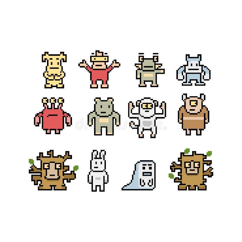 Colección de los monstruos y de los animales del arte del pixel stock de ilustración