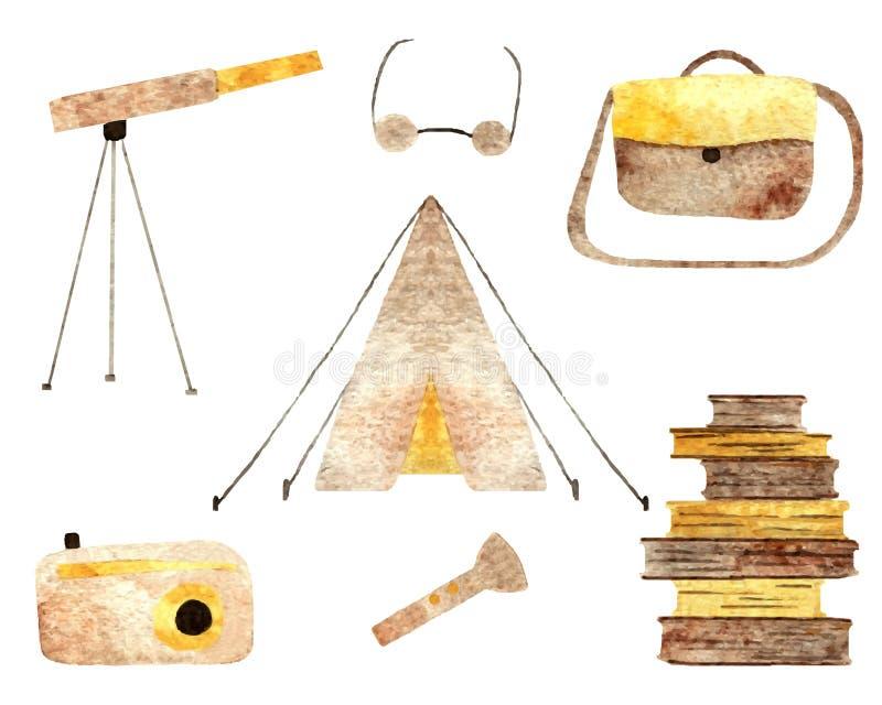 Colección de los objetos que acampa stock de ilustración