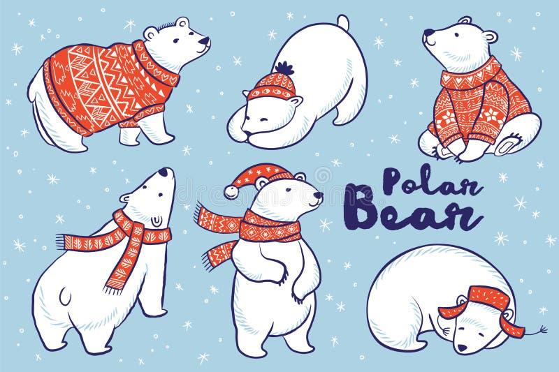 Colección de los osos polares en suéter, bufanda y sombrero rojos ilustración del vector