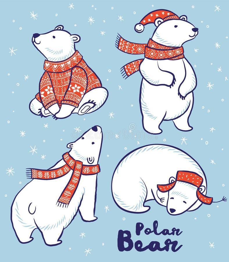Colección de los osos polares en suéter, bufanda y sombrero rojos stock de ilustración
