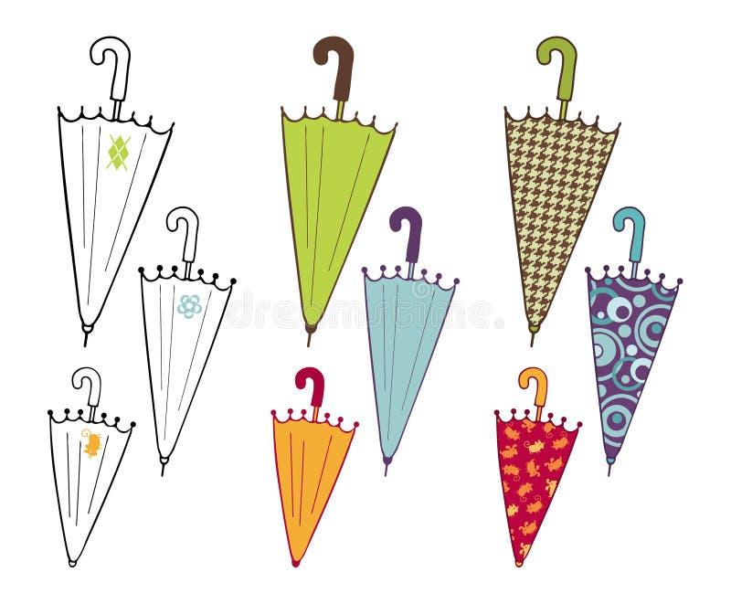 Colección de los paraguas stock de ilustración
