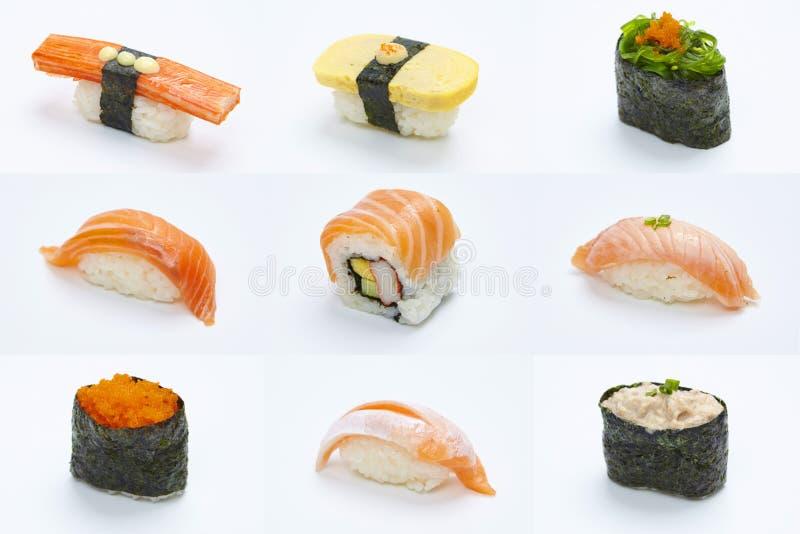 Colecci?n de los pedazos de Maki Sushi en el fondo blanco foto de archivo