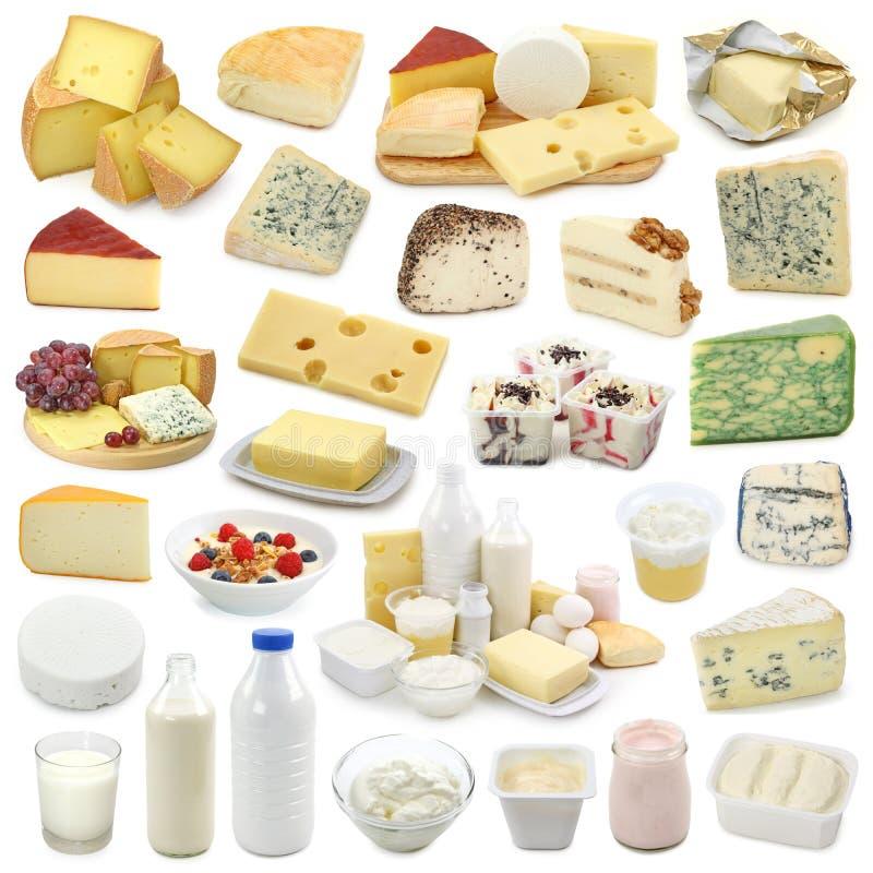 Colección de los productos lácteos fotos de archivo libres de regalías