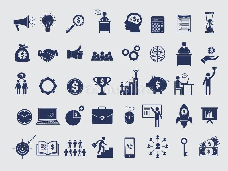 Colección de los símbolos del negocio Administradores de dinero del diagrama en los iconos del vector del ordenador portátil de l ilustración del vector