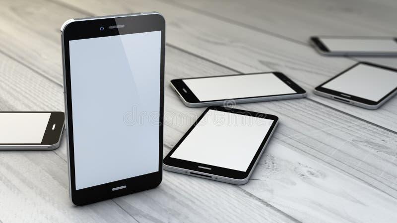 Colección de los smartphones sobre el fondo de madera blanco stock de ilustración